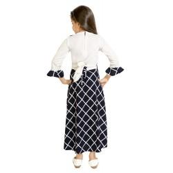 Girls Maxi/Full Length Casual Dress  (Dark Blue, 3/4 Sleeve)