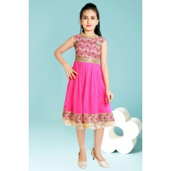 Girls Midi/Knee Length Casual Dress  (Pink, Sleeveless)