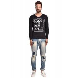 Graphic Print Men V-neck Black T-Shirt