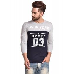 Typography Men Round Neck Grey, Black T-Shirt