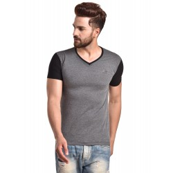 Color block Men V-neck Grey, Black T-Shirt