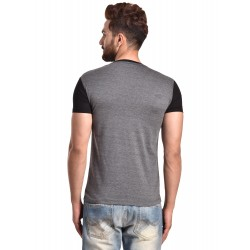 Color block Men V-neck Grey, Black T-Shirt