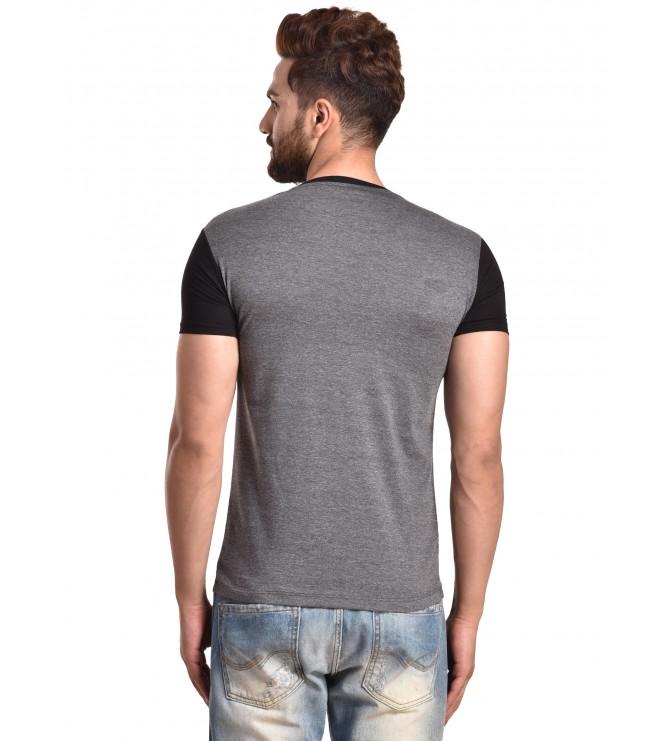 0e3ac3d8f Color block Men V-neck Grey, Black T-Shirt