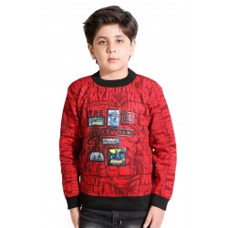 Printed Round Neck Casual Boys Red Sweater