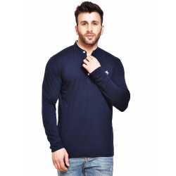 Solid Men Henley Blue T-Shirt
