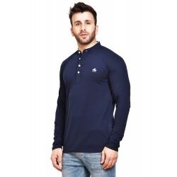 Solid Men Henley Blue T-Shirt