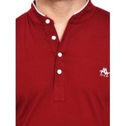 Solid Men Henley Red T-Shirt