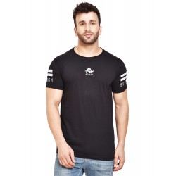Varsity Men Round Neck Black T-Shirt