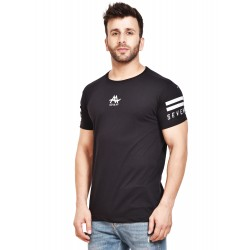 Varsity Men Round Neck Black T-Shirt