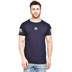 Printed Men Round Neck Blue T-Shirt