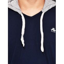 Color block Men Hooded Blue, Grey T-Shirt