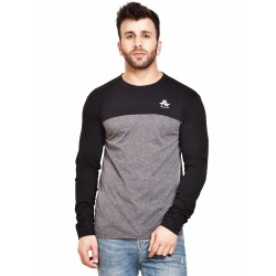 Color block Men Round Neck Grey, Black T-Shirt