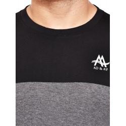 Color block Men Round Neck Grey, Black T-Shirt
