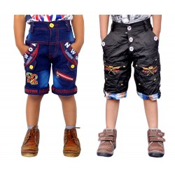Short For Boys Casual Solid Cotton 8 JEANS AND  BLACK (Multicolor, Pack of 2)