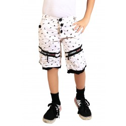 Short For Boy's Casual Printed Cotton  (White, Pack of 1)