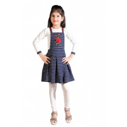 Girls Midi/Knee Length Casual Dress  (Dark Blue, 3/4 Sleeve)
