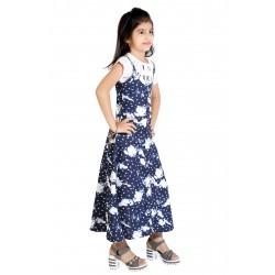 Girls Maxi/Full Length Casual Dress  (Blue, Cap Sleeve)