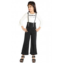 Dungaree For Girl's Casual Solid Poly Cotton  (White, Pack of 1)