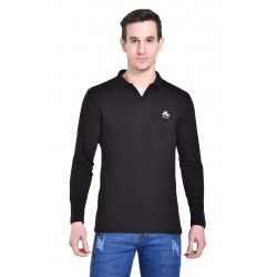 Solid Men's Collared Neck Black T-Shirt
