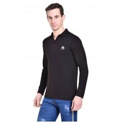 Solid Men's Collared Neck Black T-Shirt
