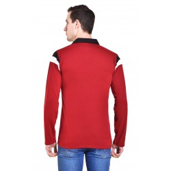 Solid Men's Collared Neck Red T-Shirt