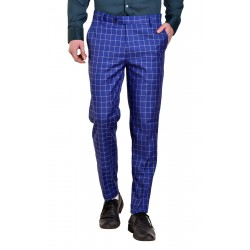 AD & AV Regular Fit Men' Blue Cheks Trousers (984)