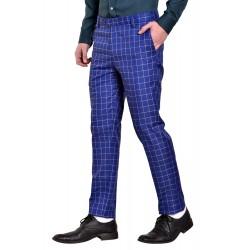 AD & AV Regular Fit Men' Blue Cheks Trousers (984)