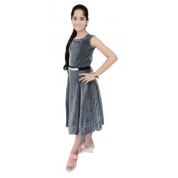 AD & AV Girls Midi/Knee Length Party Dress  (BLACK, Sleeveless) (764)