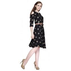 AD & AV Women's Fit and Flare BLACK STAR  MIDDI (745)