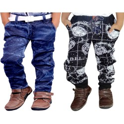 COMBO BADI JEANS AND BLACK PRINT CARGO
