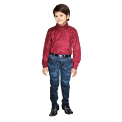 AD & AV  COMBO Boy's Casual Spread Shirt DARK RED SHIRT & BADI JEANS (313)