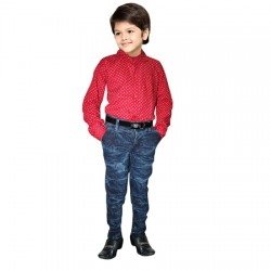 AD & AV  COMBO Boy's Casual Spread Shirt LIGHT  RED SHIRT & BADI JEANS (314)