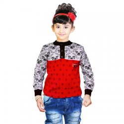 AD & AV Self Design Round Neck Casual Girls Multicolor Sweater