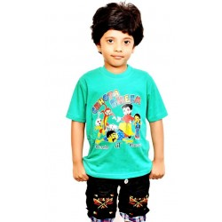 Boys Printed Cotton Blend T Shirt  (Green, Pack of 1)