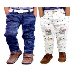 COMBO TROUSERS JEANS AND WHITE