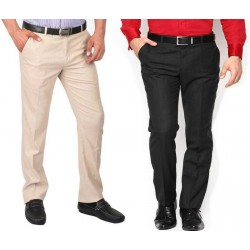 Regular Fit Men's Cream, Black Trousers