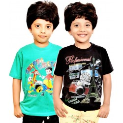 Boy's Printed Cotton T Shirt  ( Pack of 2)