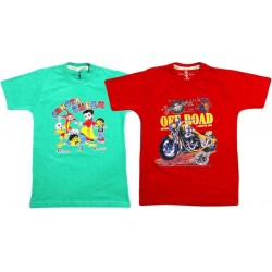 Boy's Printed Cotton T Shirt  COMBO