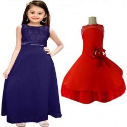 Girls Midi/Knee Length Party Dress  (Multicolor, Sleeveless)