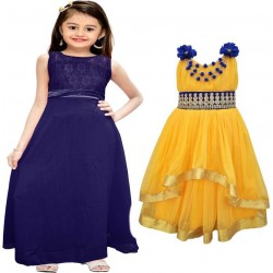 Girls Midi/Knee Length Party Dress  (Multicolor, Sleeveless)
