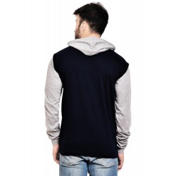 Color block Men Hooded Blue, Grey T-Shirt