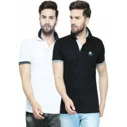 Solid Men Polo Neck Multicolor T-Shirt  (Pack of 2)