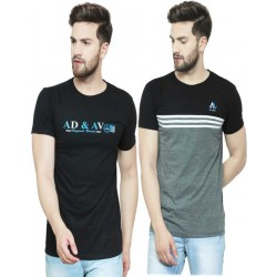 Printed Men Round or Crew Multicolor T-Shirt  (Pack of 2)