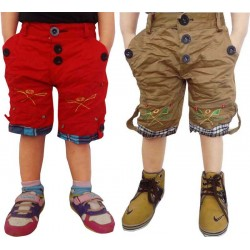 Short For Boys Casual Solid Cotton RED & KHAKI (Multicolor, Pack of 2)