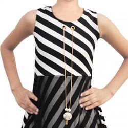 AD & AV Girls Midi/Knee Length Casual Dress BLACK STRIPE FROCK (207)
