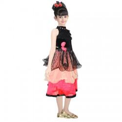 AD & AV Girls Midi/Knee Length Casual Dress BLACK VELVET FROCK (248)