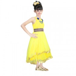 AD & AV Girls Midi/Knee Length Casual Dress YELLOW NET FROCK (251)