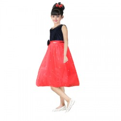 AD & AV Girls Midi/Knee Length Casual Dress RED MOTI (347)