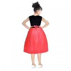 AD & AV Girls Midi/Knee Length Casual Dress RED MOTI (347)