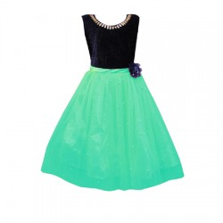 AD & AV Girls Midi/Knee Length Casual Dress GREEN MOTI (350)
